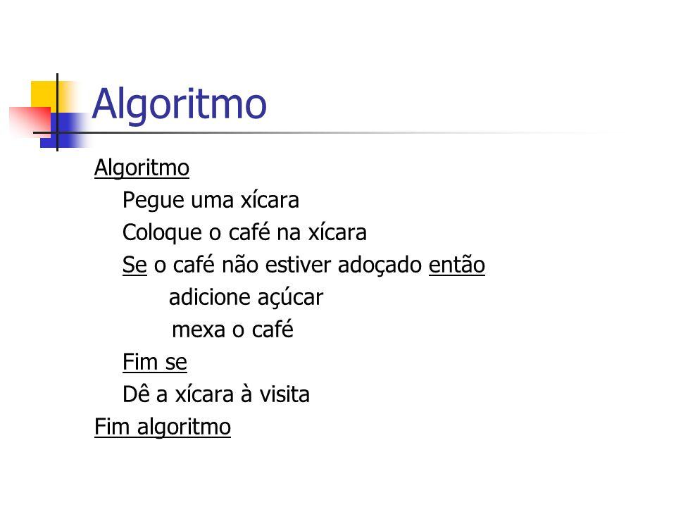 Algoritmo Algoritmo Pegue uma xícara Coloque o café na xícara
