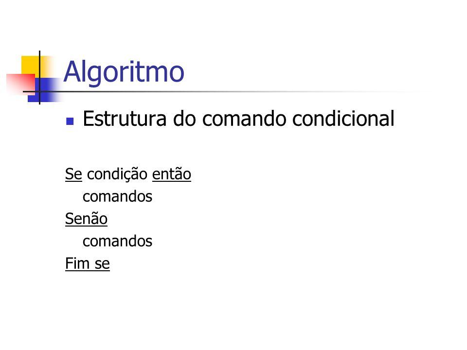 Algoritmo Estrutura do comando condicional Se condição então comandos
