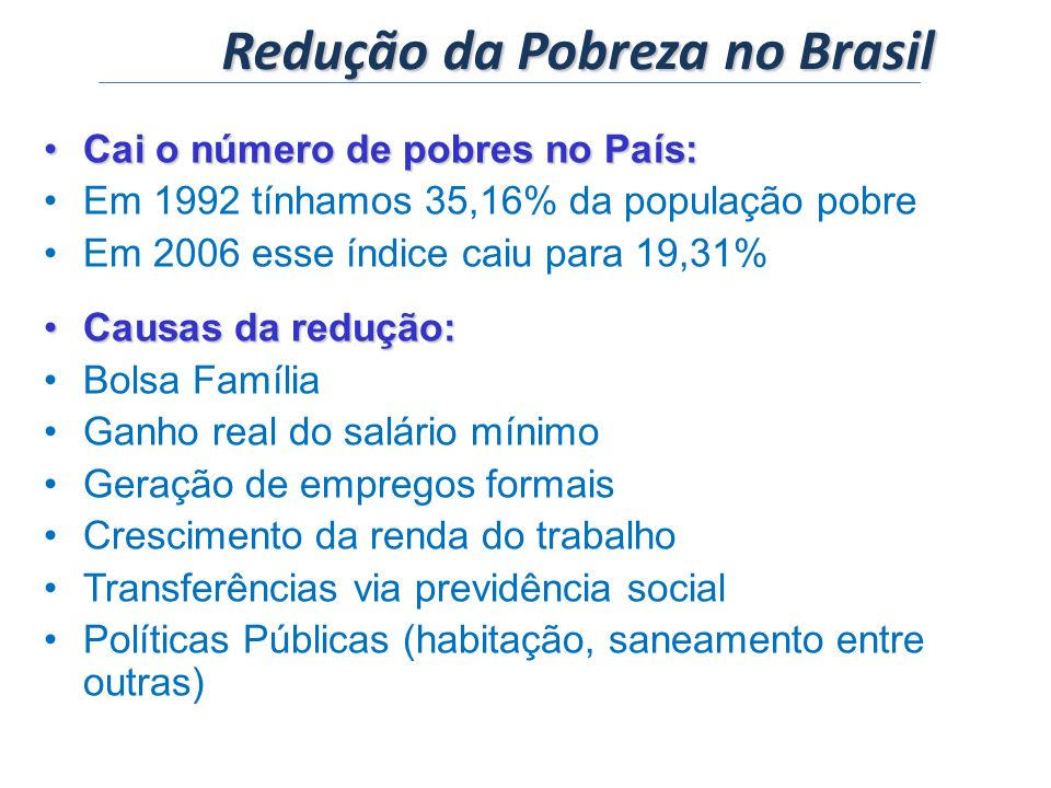Redução da Pobreza no Brasil
