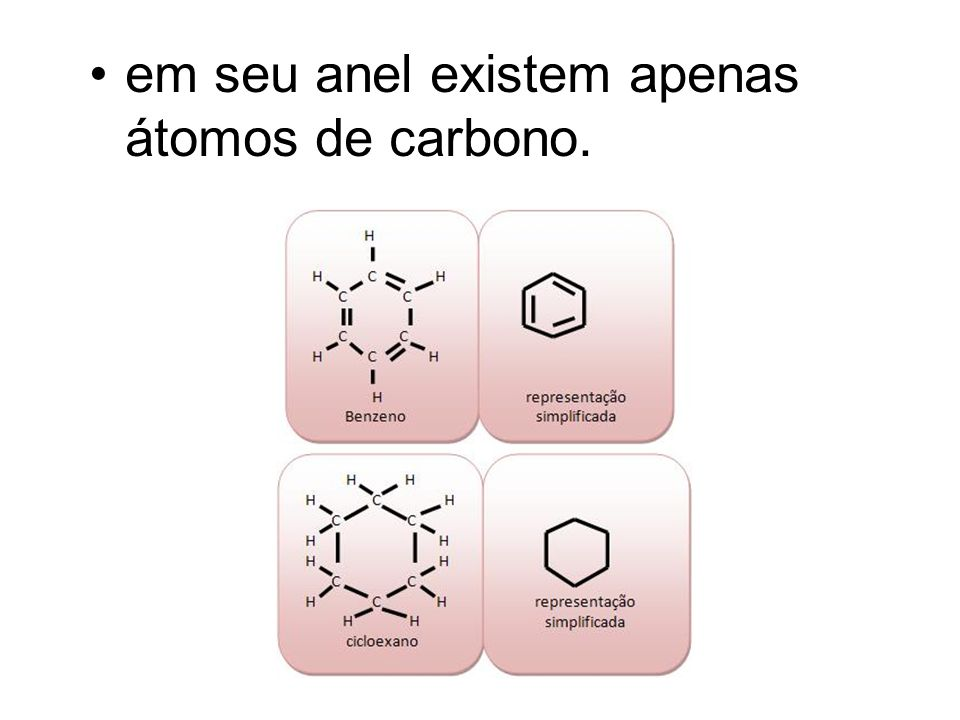 em seu anel existem apenas átomos de carbono.
