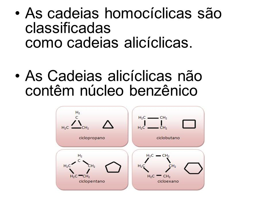 As cadeias homocíclicas são classificadas como cadeias alicíclicas.
