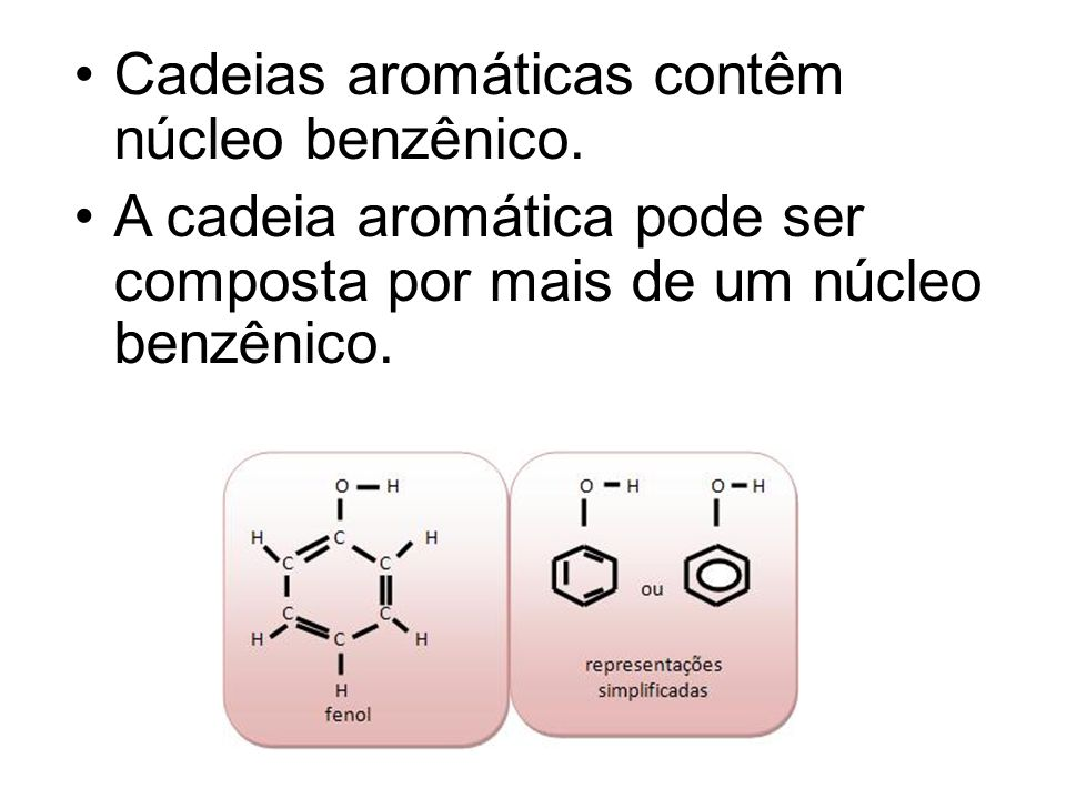Cadeias aromáticas contêm núcleo benzênico.
