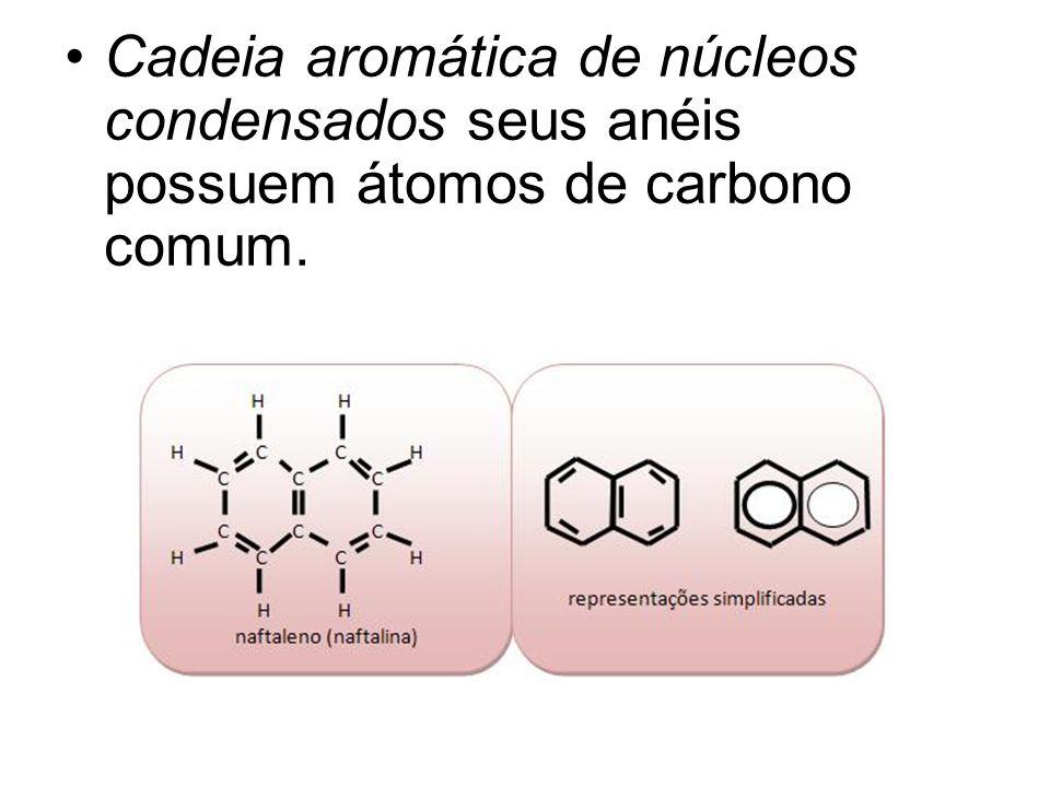 Cadeia aromática de núcleos condensados seus anéis possuem átomos de carbono comum.