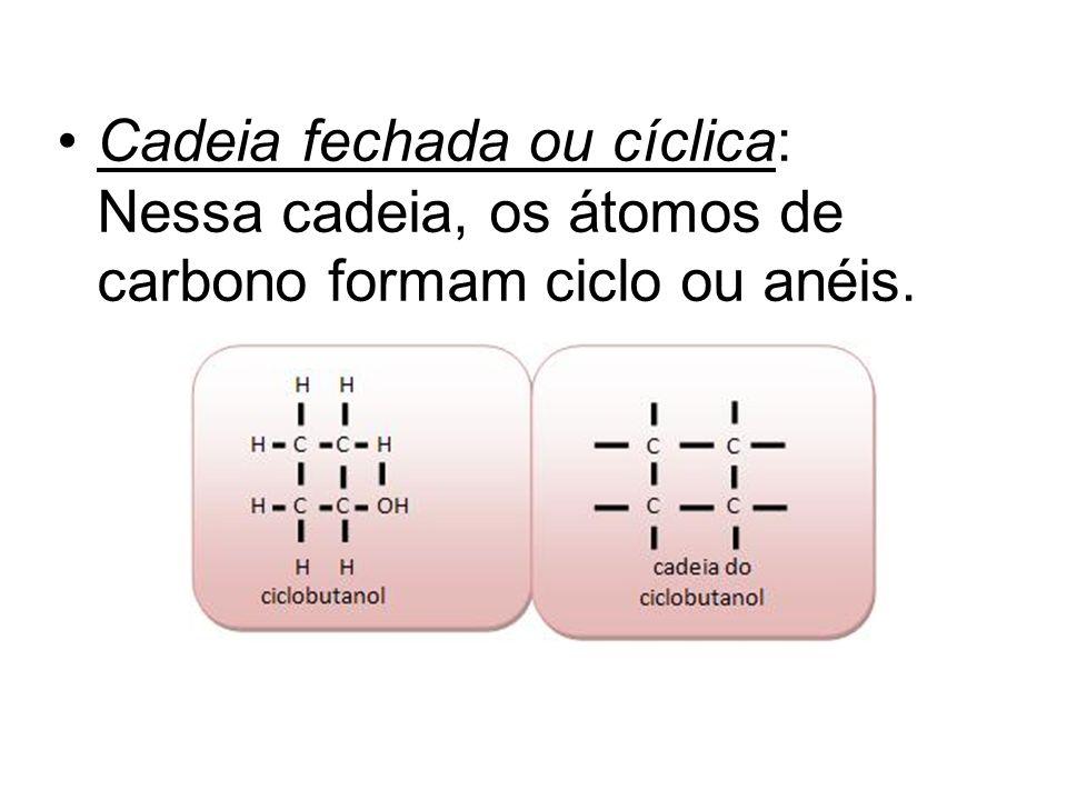 Cadeia fechada ou cíclica: Nessa cadeia, os átomos de carbono formam ciclo ou anéis.