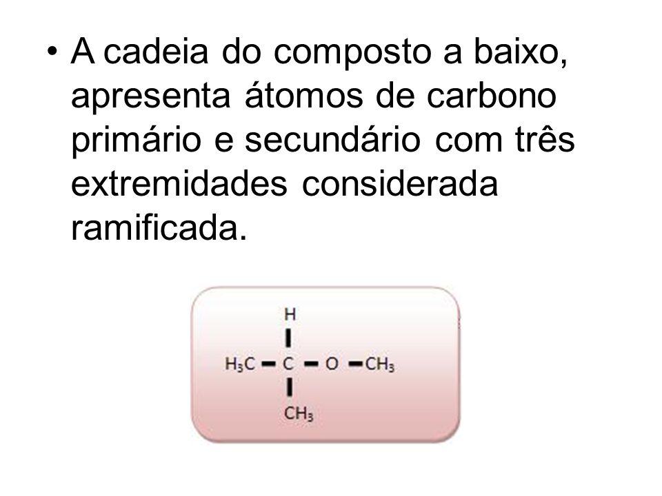 A cadeia do composto a baixo, apresenta átomos de carbono primário e secundário com três extremidades considerada ramificada.