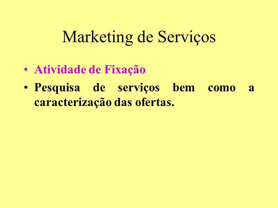 Marketing de Serviços Atividade de Fixação