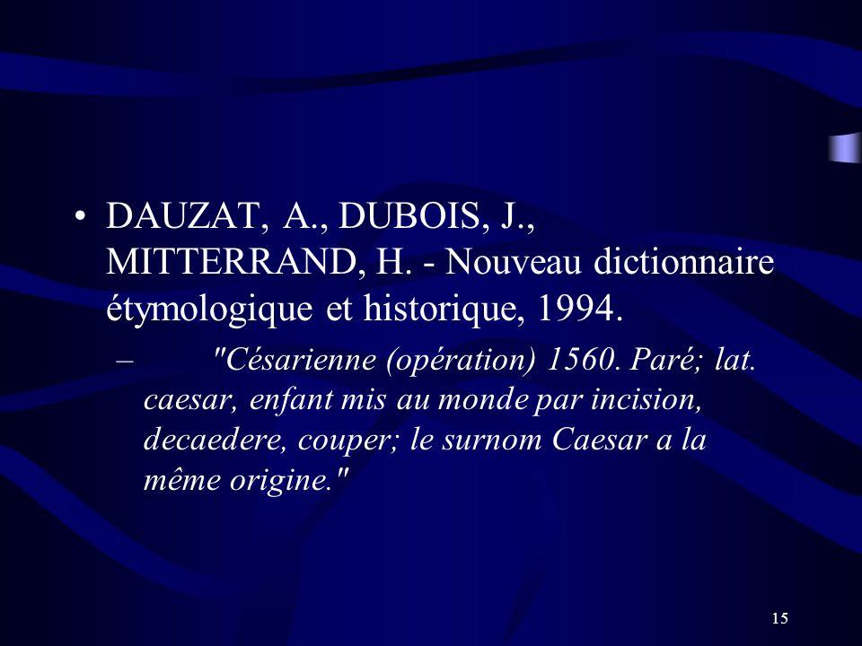 DAUZAT, A. , DUBOIS, J. , MITTERRAND, H