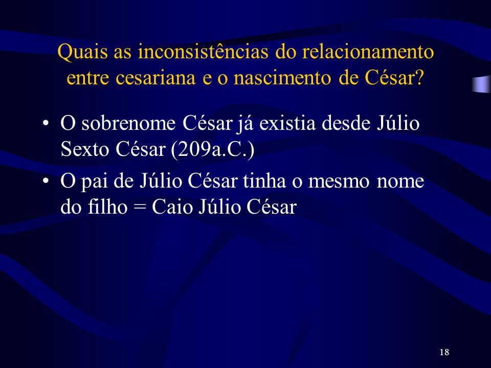 Quais as inconsistências do relacionamento entre cesariana e o nascimento de César