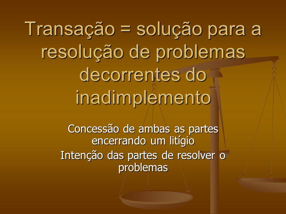 Transação = solução para a resolução de problemas decorrentes do inadimplemento