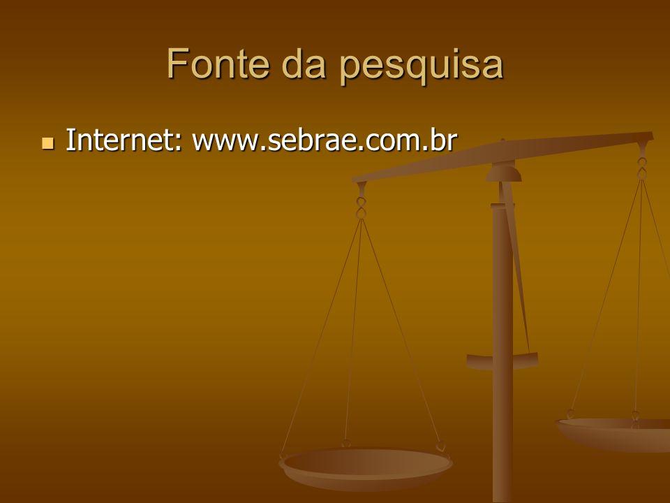 Fonte da pesquisa Internet: www.sebrae.com.br