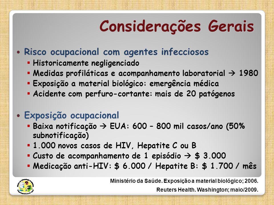 Considerações Gerais Risco ocupacional com agentes infecciosos