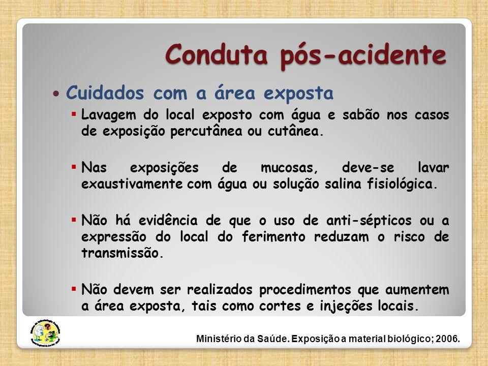 Conduta pós-acidente Cuidados com a área exposta