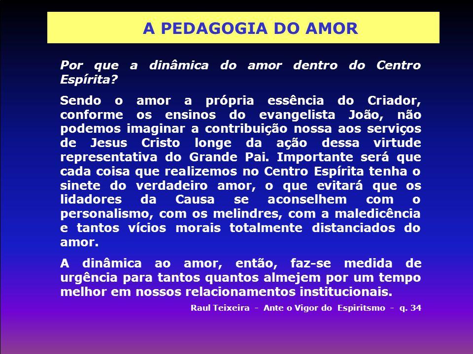 A PEDAGOGIA DO AMOR Por que a dinâmica do amor dentro do Centro Espírita