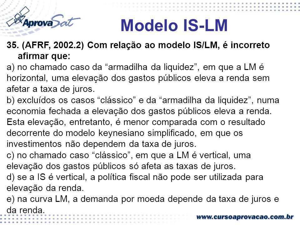 Modelo IS-LM 35. (AFRF, 2002.2) Com relação ao modelo IS/LM, é incorreto afirmar que: a) no chamado caso da armadilha da liquidez , em que a LM é.
