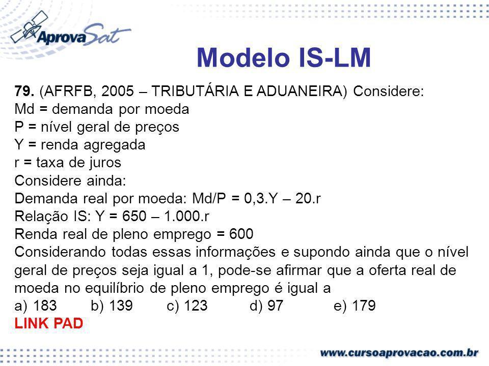 Modelo IS-LM 79. (AFRFB, 2005 – TRIBUTÁRIA E ADUANEIRA) Considere: