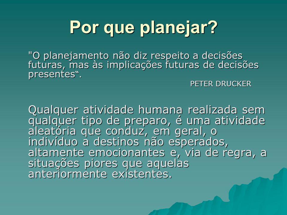 Por que planejar O planejamento não diz respeito a decisões futuras, mas às implicações futuras de decisões presentes .