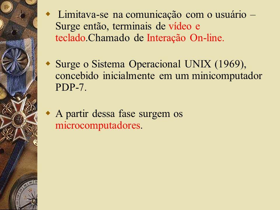 Limitava-se na comunicação com o usuário – Surge então, terminais de vídeo e teclado.Chamado de Interação On-line.