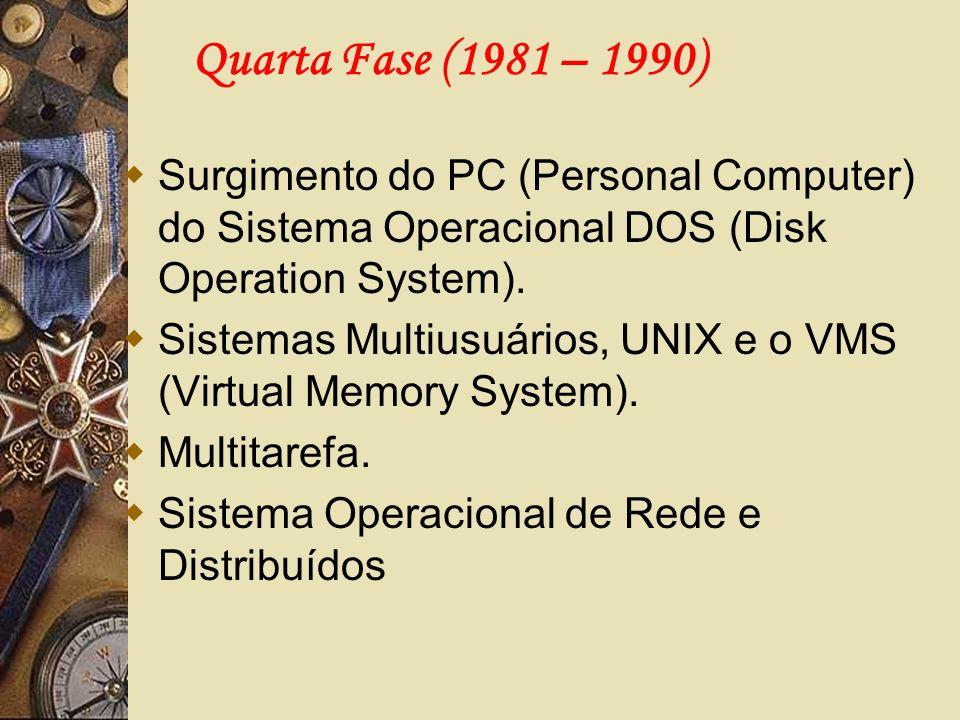 Quarta Fase (1981 – 1990)Surgimento do PC (Personal Computer) do Sistema Operacional DOS (Disk Operation System).