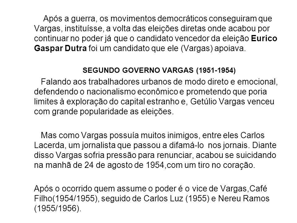 SEGUNDO GOVERNO VARGAS (1951‑1954)