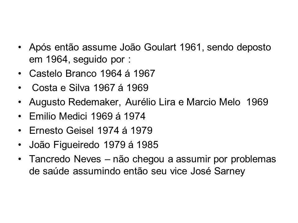Após então assume João Goulart 1961, sendo deposto em 1964, seguido por :