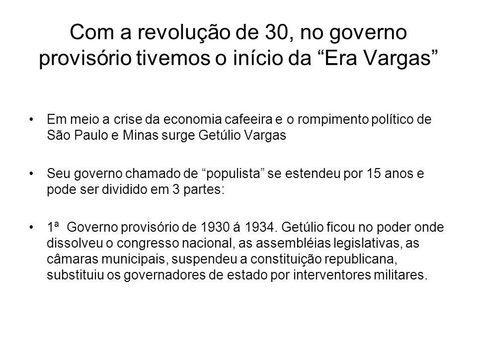 Com a revolução de 30, no governo provisório tivemos o início da Era Vargas