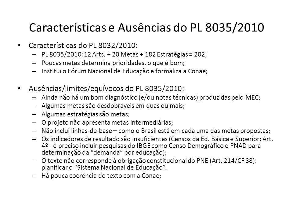 Características e Ausências do PL 8035/2010