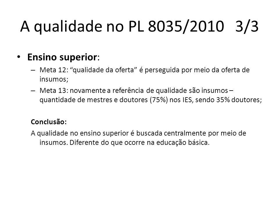 A qualidade no PL 8035/2010 3/3 Ensino superior: