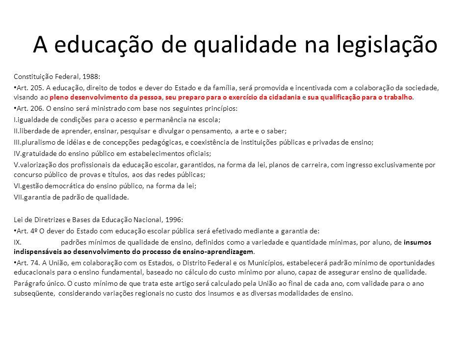 A educação de qualidade na legislação