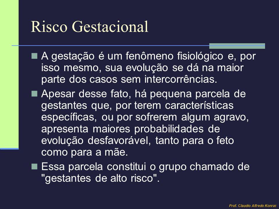 Risco Gestacional A gestação é um fenômeno fisiológico e, por isso mesmo, sua evolução se dá na maior parte dos casos sem intercorrências.