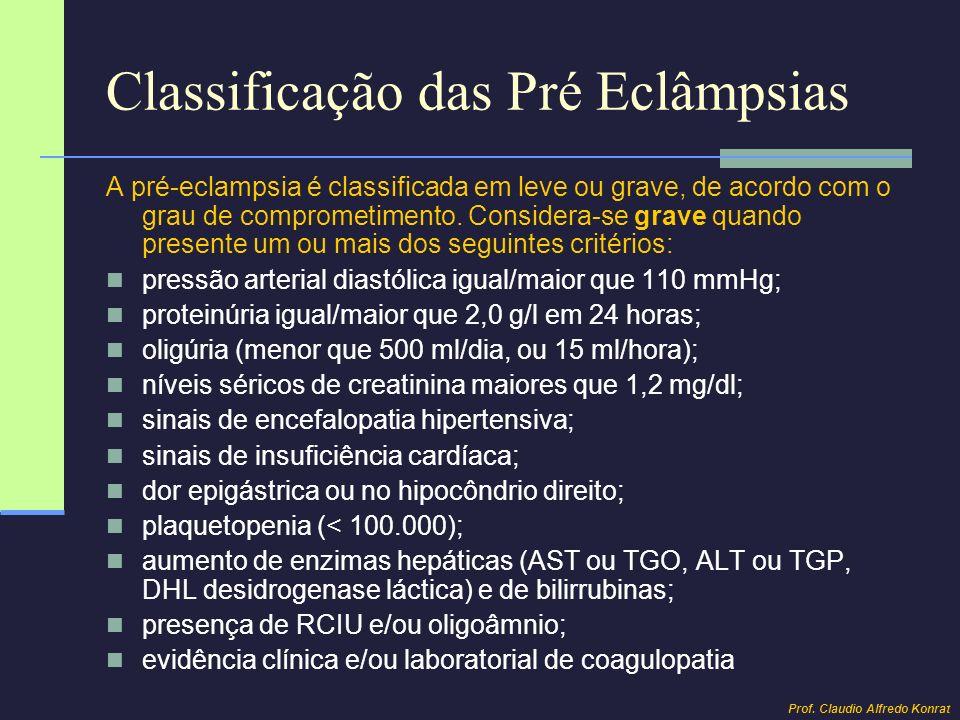 Classificação das Pré Eclâmpsias