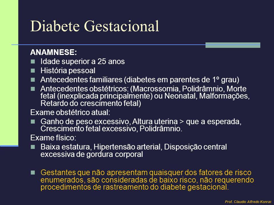 Diabete Gestacional ANAMNESE: Idade superior a 25 anos