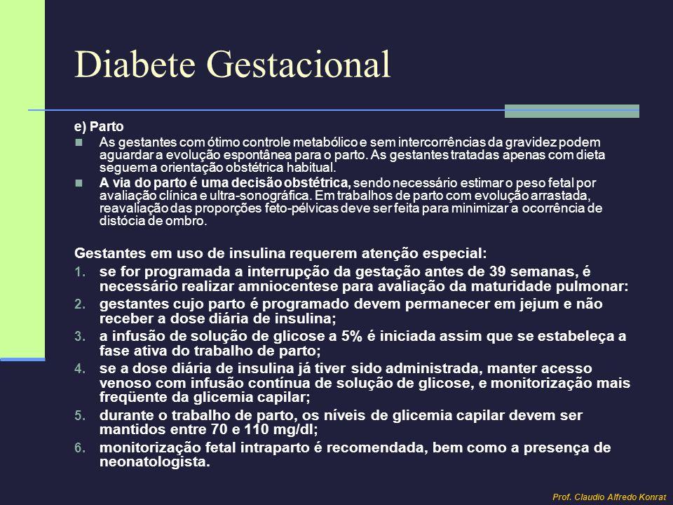 Diabete Gestacional e) Parto.
