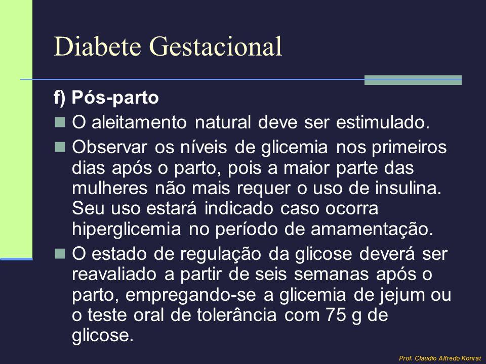 Diabete Gestacional f) Pós-parto