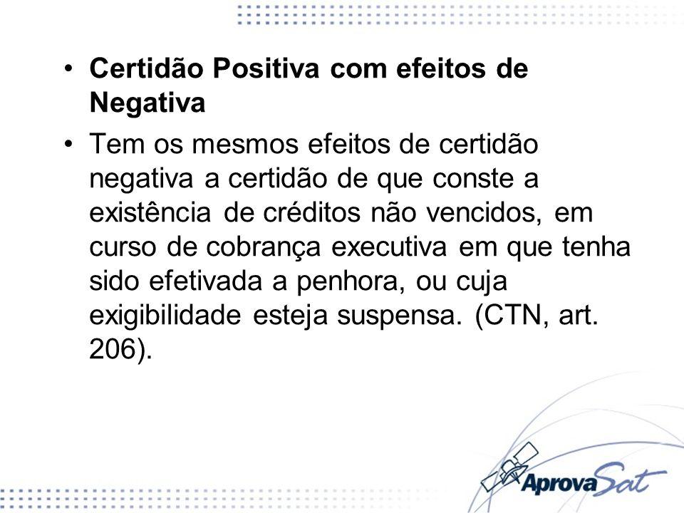 Certidão Positiva com efeitos de Negativa