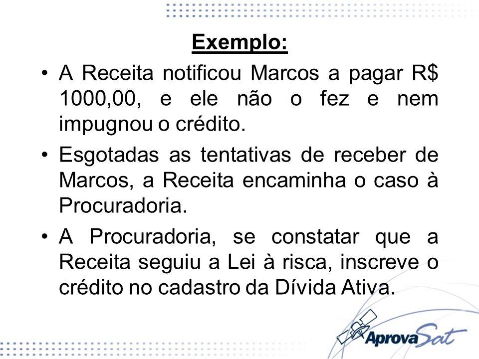 Exemplo:A Receita notificou Marcos a pagar R$ 1000,00, e ele não o fez e nem impugnou o crédito.