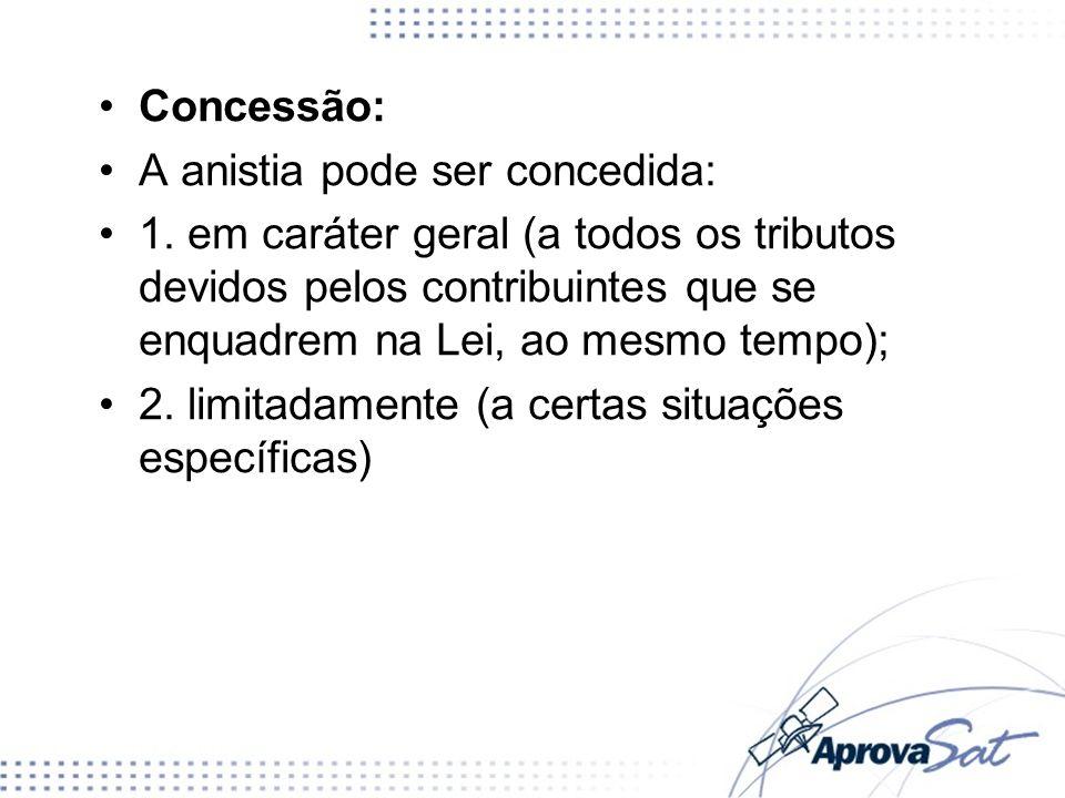 Concessão:A anistia pode ser concedida:
