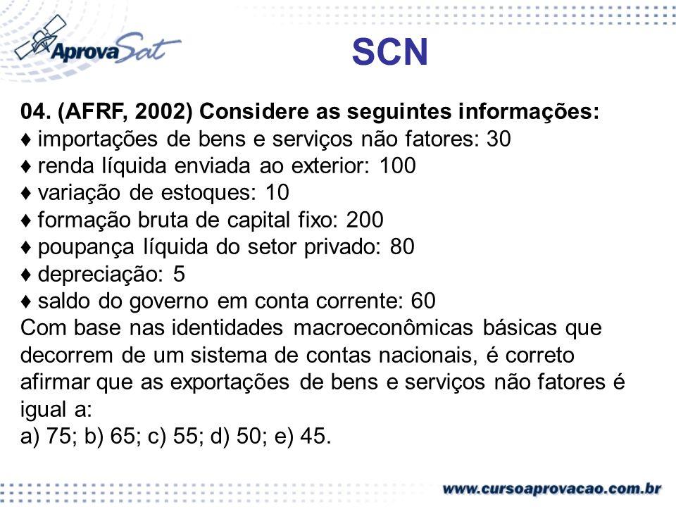 SCN 04. (AFRF, 2002) Considere as seguintes informações: