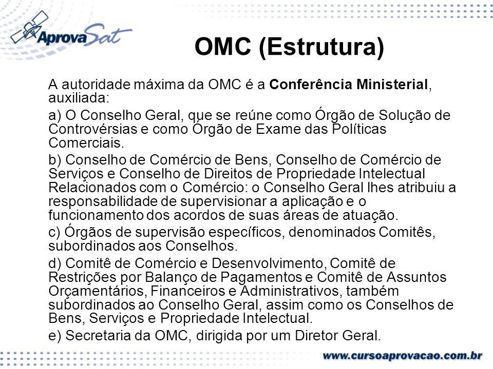 OMC (Estrutura) A autoridade máxima da OMC é a Conferência Ministerial, auxiliada: