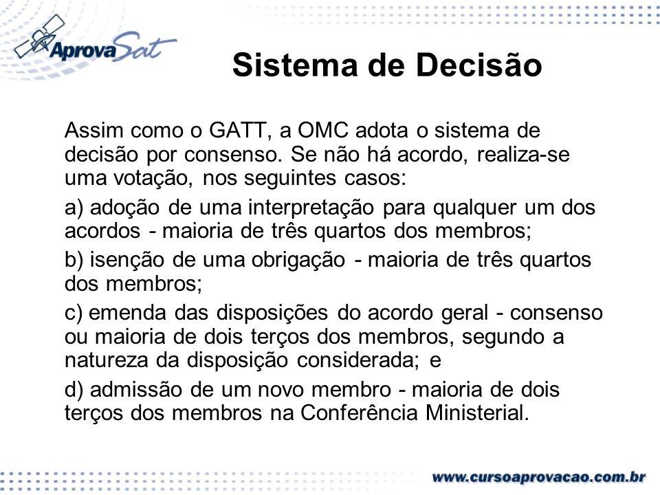 Sistema de Decisão Assim como o GATT, a OMC adota o sistema de decisão por consenso. Se não há acordo, realiza-se uma votação, nos seguintes casos: