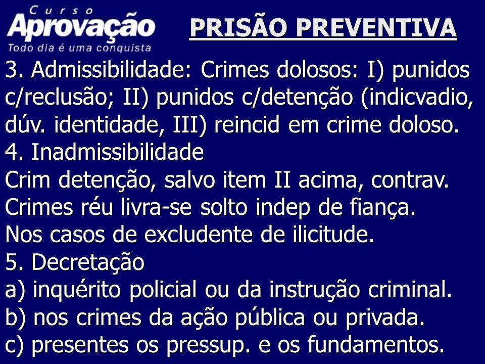 PRISÃO PREVENTIVA 3. Admissibilidade: Crimes dolosos: I) punidos