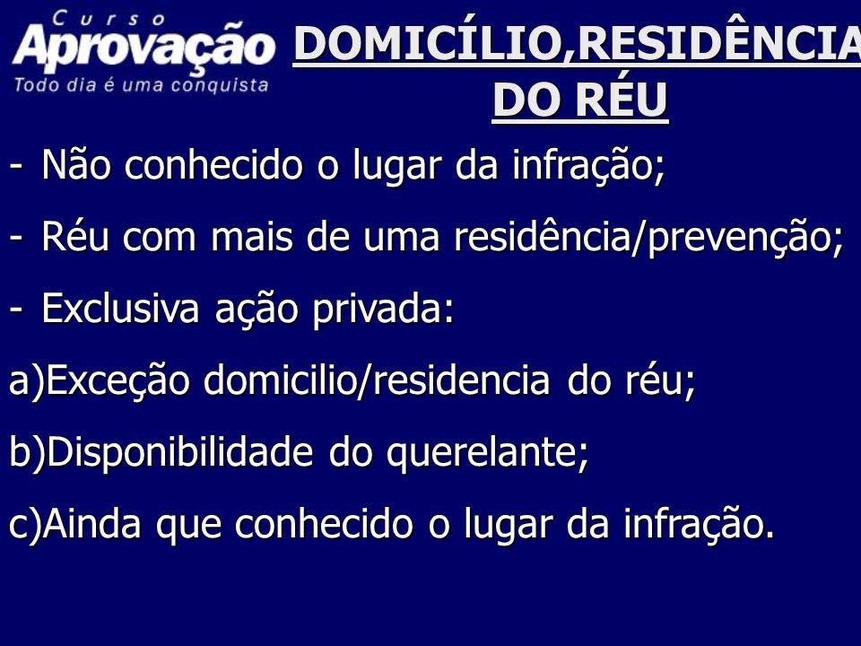 DOMICÍLIO,RESIDÊNCIA DO RÉU