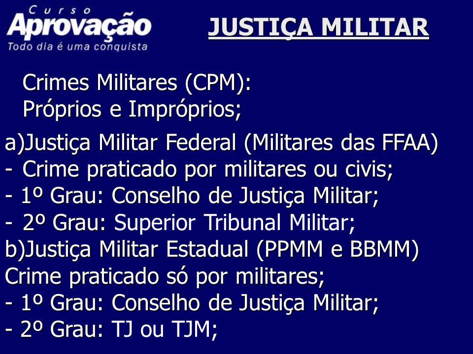JUSTIÇA MILITAR Crimes Militares (CPM): Próprios e Impróprios;