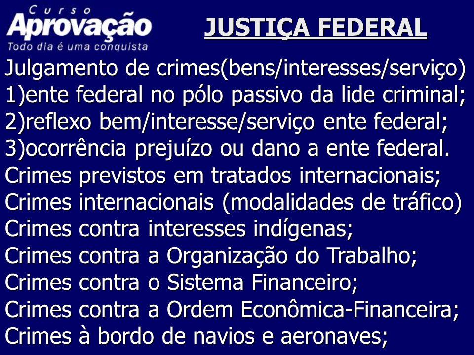 JUSTIÇA FEDERAL Julgamento de crimes(bens/interesses/serviço)