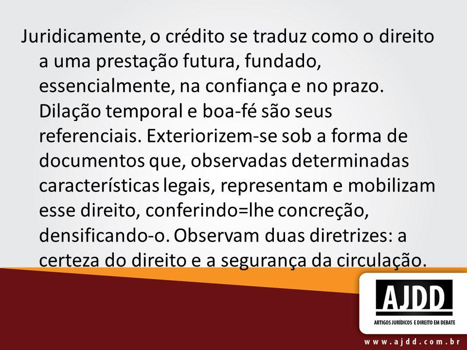 Juridicamente, o crédito se traduz como o direito a uma prestação futura, fundado, essencialmente, na confiança e no prazo.