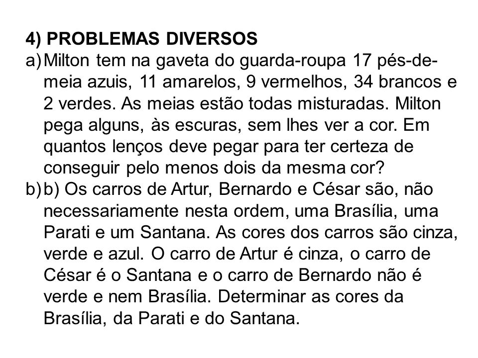 4) PROBLEMAS DIVERSOS