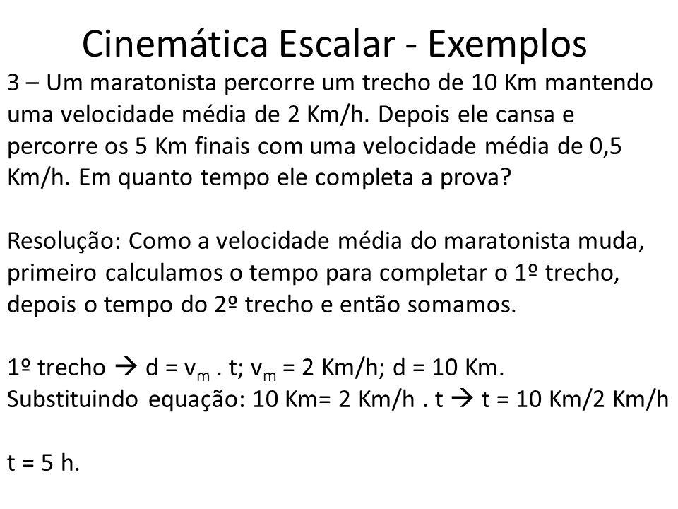 Cinemática Escalar - Exemplos