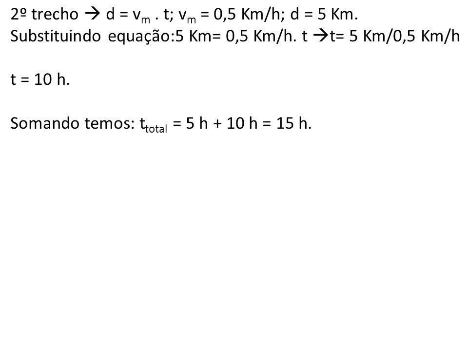 2º trecho  d = vm . t; vm = 0,5 Km/h; d = 5 Km.