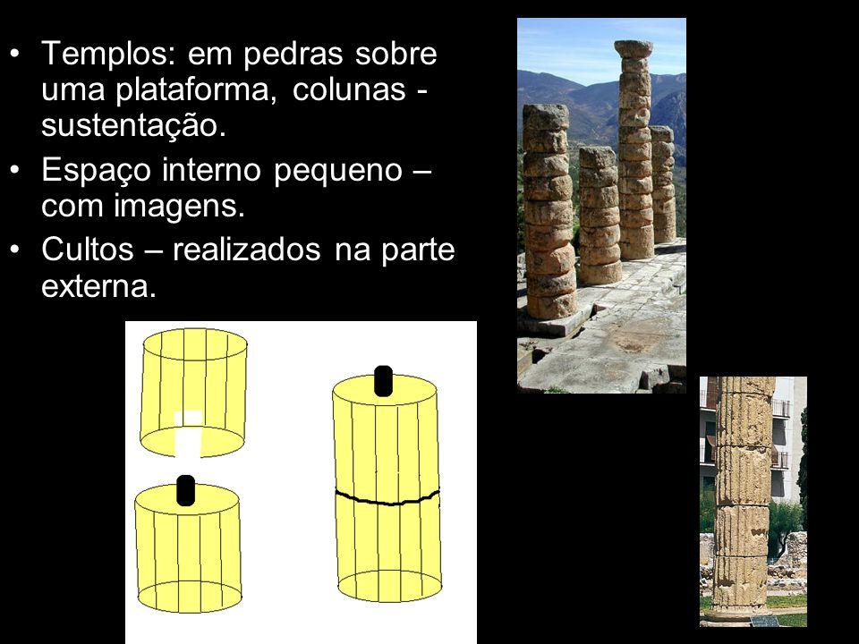 Templos: em pedras sobre uma plataforma, colunas - sustentação.