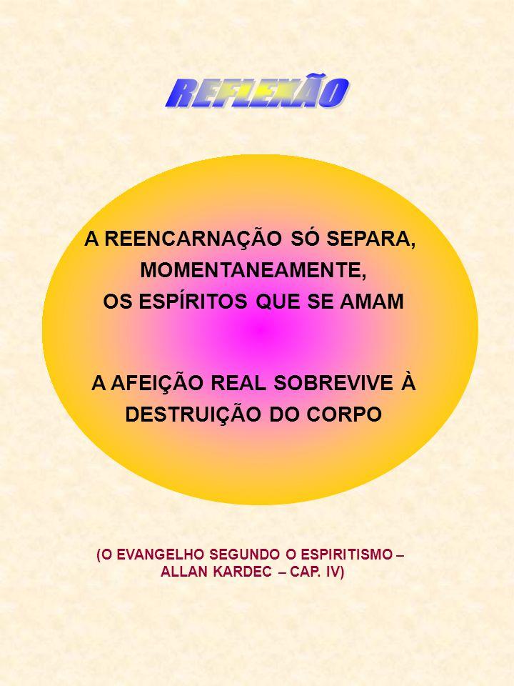 REFLEXÃO A REENCARNAÇÃO SÓ SEPARA, MOMENTANEAMENTE,