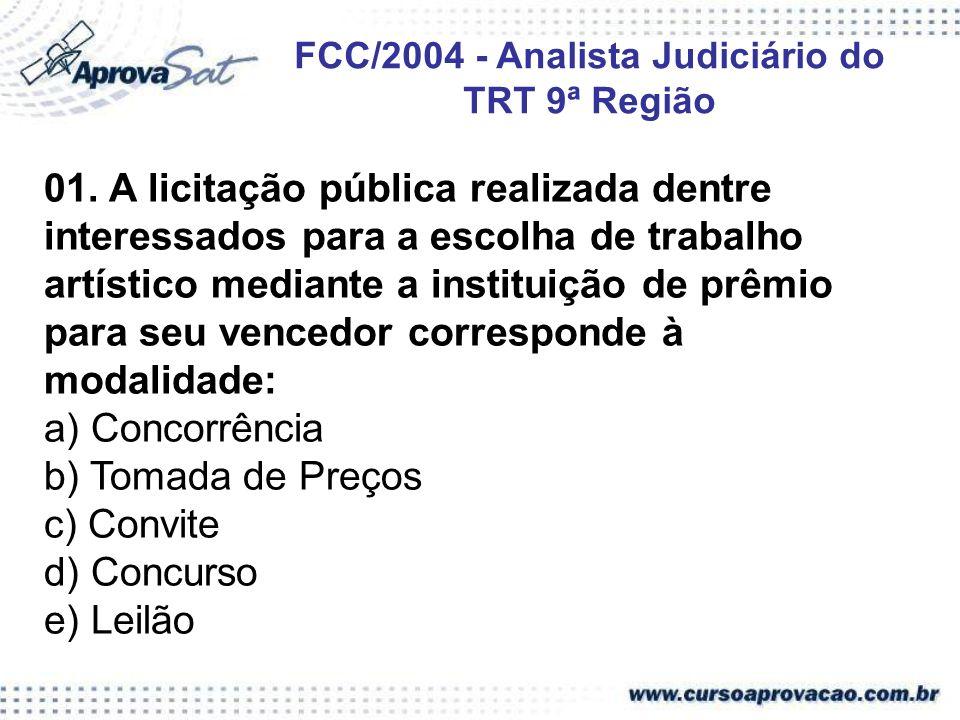 FCC/2004 - Analista Judiciário do TRT 9ª Região